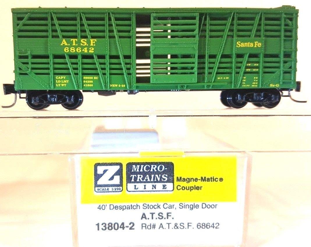 Z Scale - Micro-Trains - 13804 - Stock Car, 40 Foot, Wood - Santa Fe - 68642