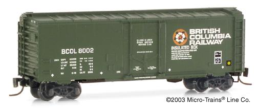 Z Scale - Micro-Trains - 14916 - Boxcar, 40 Foot, Steel Plug Door - British Columbia - 8004
