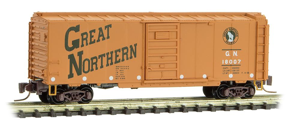 Z Scale - Micro-Trains - 500 00 930 - Boxcar, 40 Foot, PS-1 - Great Northern - 18007