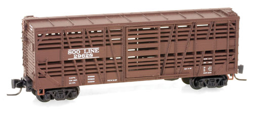 Z Scale - Micro-Trains - 520 00 140 - Stock Car, 40 Foot, Wood - SOO Line - 29628