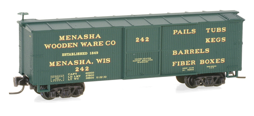 Z Scale - Micro-Trains - 515 00 150 - Boxcar, 40 Foot, Double Wood Sheathed - Menasha Wooden Ware - 242