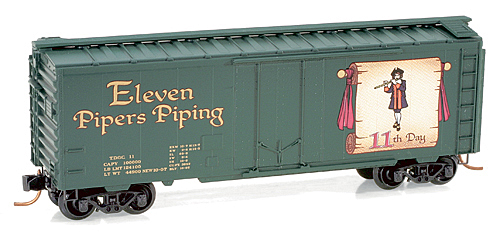 Z Scale - Micro-Trains - 502 00 420 - Boxcar, 40 Foot, Steel Plug Door - Twelve Days of Christmas - 11