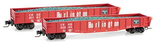 Z Scale - Micro-Trains - 522 00 161 - Gondola, 50 Foot, Steel - Burlington Route - 82044