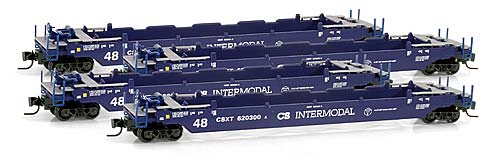 Z Scale - Micro-Trains - 994 00 007 - Container Car, Single Well, Gunderson Husky Stack 53 - CSX Transportation - 4-Pack