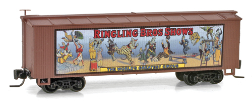 Z Scale - Micro-Trains - 515 00 602 - Boxcar, 40 Foot, Double Wood Sheathed - Ringling Bros. and Barnum & Bailey