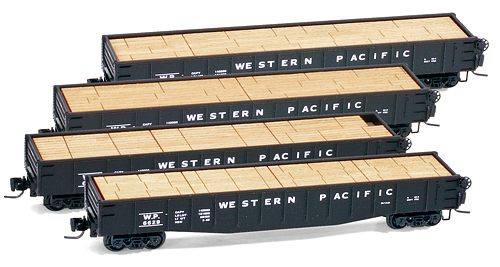 Z Scale - Micro-Trains - 994 00 029 - Gondola, 50 Foot, Steel - Western Pacific - 4-Pack
