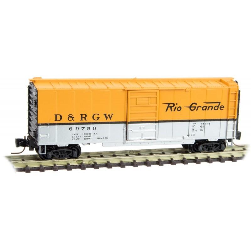 Z Scale - Micro-Trains - 500 00 901 - Boxcar, 40 Foot, PS-1 - Rio Grande - 69750