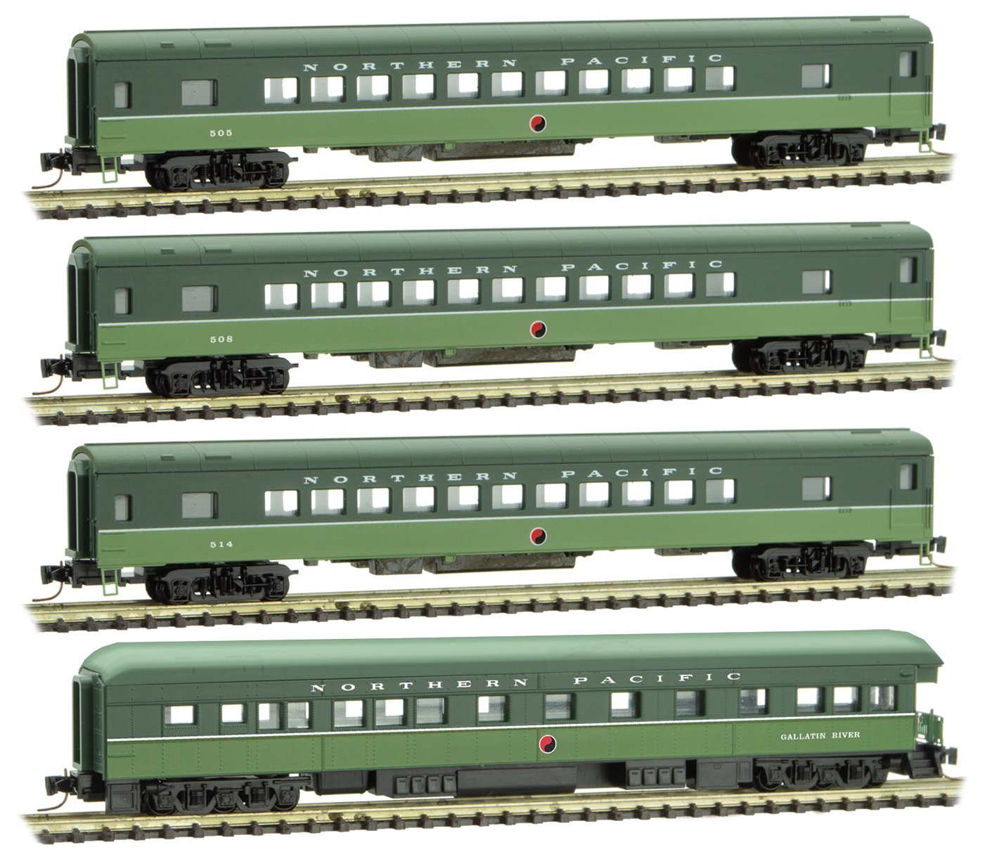 Z Scale - Micro-Trains - 994 01 250 - Passenger Car, Lightweight, Pullman - Northern Pacific - 4-Pack