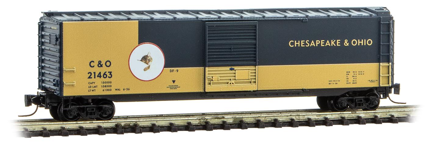 Z Scale - Micro-Trains - 505 00 423 - Boxcar, 50 Foot, PS-1 - Chesapeake & Ohio - 21463