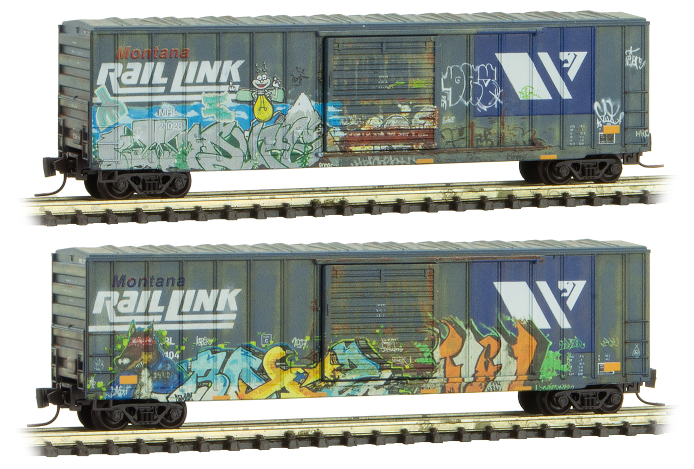 Z Scale - Micro-Trains - 994 05 250 - Boxcar, 50 Foot, Steel - Montana Rail Link - 2-Pack