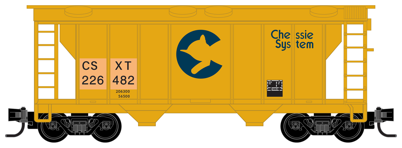 Z Scale - Micro-Trains - 531 00 332 - Covered Hopper, 2-Bay, PS2 - CSX Transportation - 226482