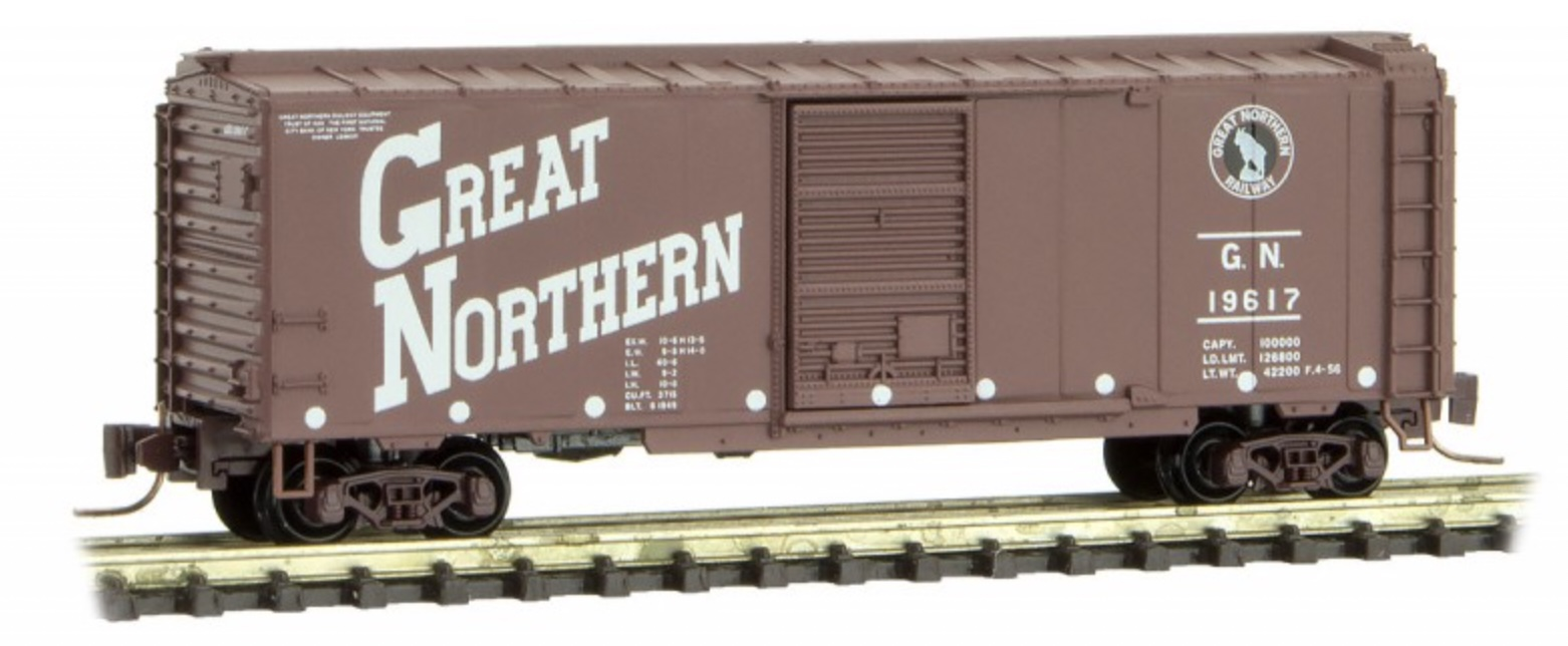 Z Scale - Micro-Trains - 500 00 940 - Boxcar, 40 Foot, PS-1 - Great Northern - 19617