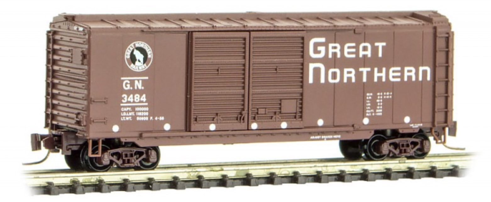 Z Scale - Micro-Trains - 501 00 250 - Boxcar, 40 Foot, Steel Double Door - Great Northern - 3484