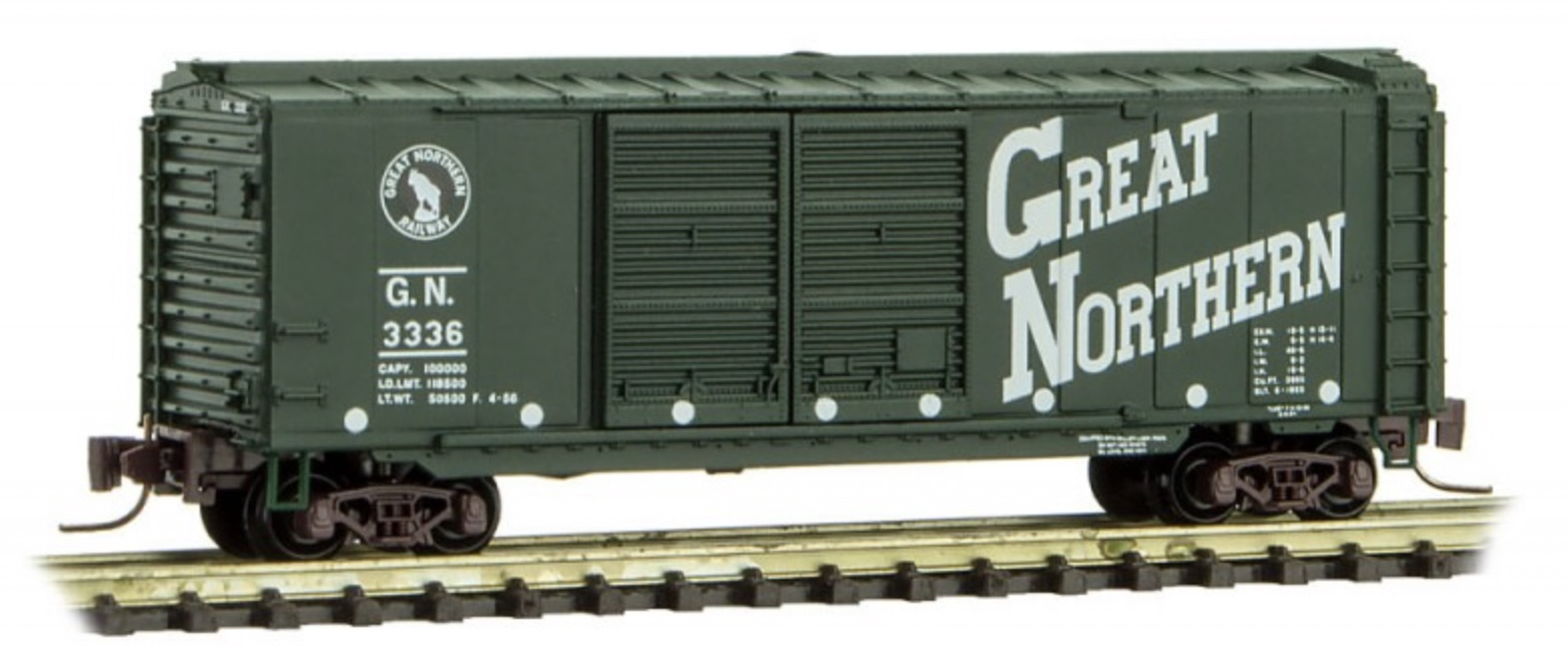 Z Scale - Micro-Trains - 501 00 260 - Boxcar, 40 Foot, Steel Double Door - Great Northern - 3336