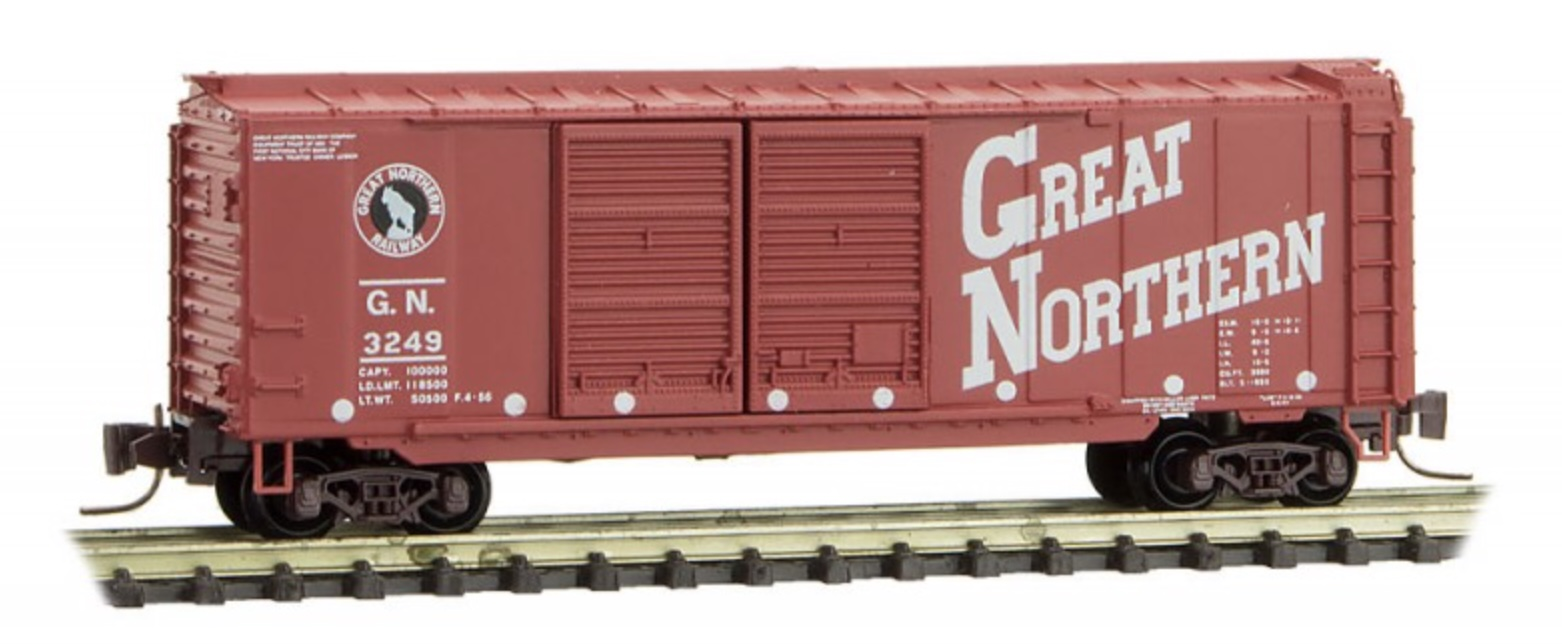 Z Scale - Micro-Trains - 501 00 270 - Boxcar, 40 Foot, Steel Double Door - Great Northern - 3249