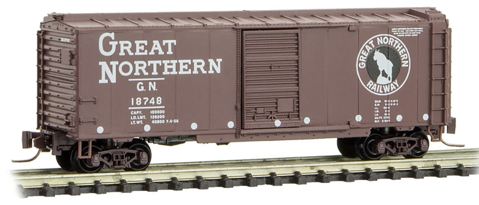 Z Scale - Micro-Trains - 500 00 960 - Boxcar, 40 Foot, PS-1 - Great Northern - 18748