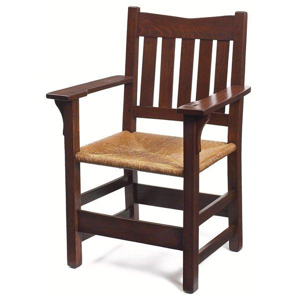 Furniture - Gustav Stickley - 312 - Arm Chair, Rush Seat