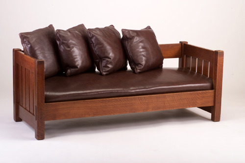 "Furniture - Gustav Stickley - 225 - Settle, Spring Seat Cushion, Soft Leather, 79"""