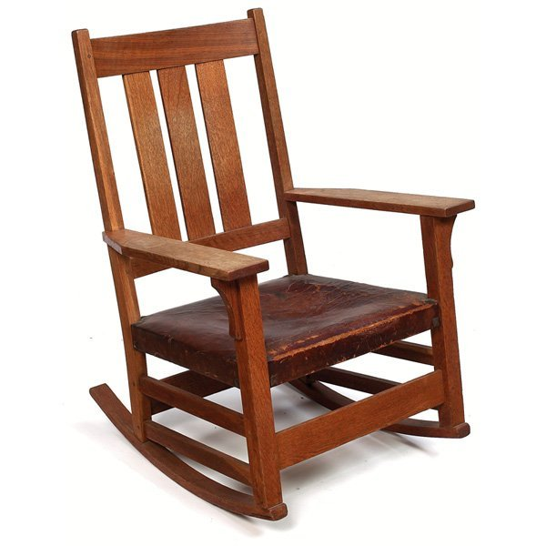 Furniture - Gustav Stickley - 365 - Arm Rocker, Hard Leather Seat