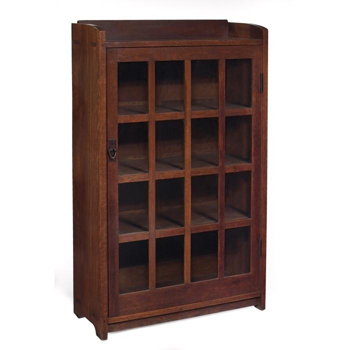 """Furniture - Gustav Stickley - 715 - Bookcase, One Door. H: 56"""", W: 36"""""""