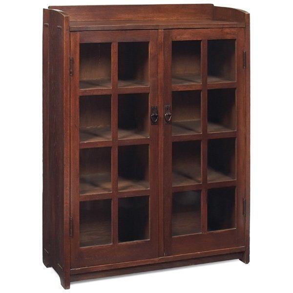 "Furniture - Gustav Stickley - 716 - Bookcase, Two Doors. H: 56"", W: 42"""