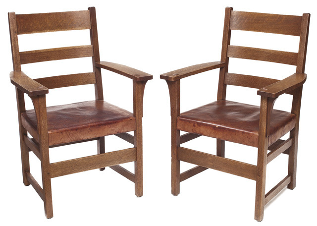 Furniture - L&JG Stickley - 1352 1/2 - Arm Chair with Leather Seat