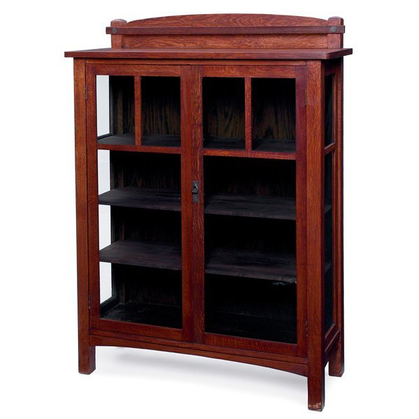 Furniture - Limbert - 448 - China Cabinet, Adjustable Shelves, Copper Trimmings
