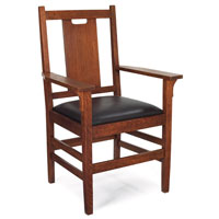 Furniture - Gustav Stickley - 314 - Arm Chair. H-Back, Rush or Soft Leather Slip