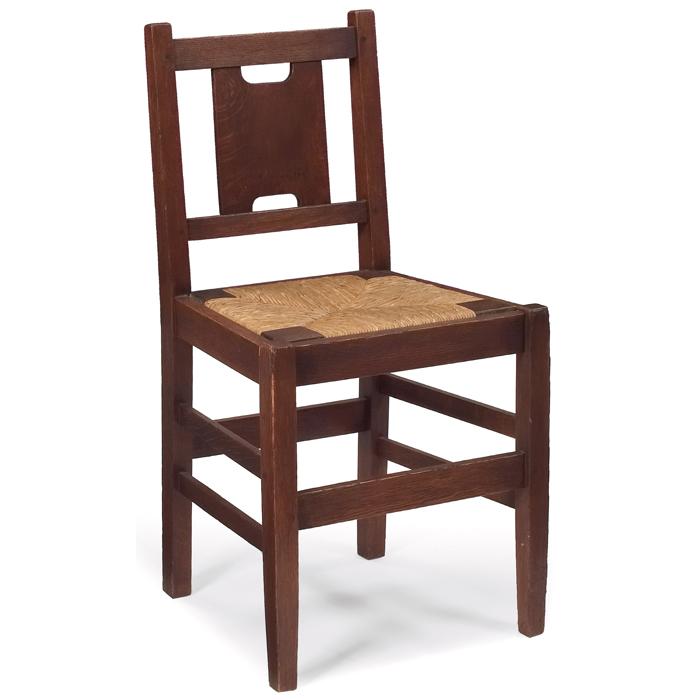 Furniture - Gustav Stickley - 398 - Desk Chair, H-Back, Rush or Soft Leather Slip Seat