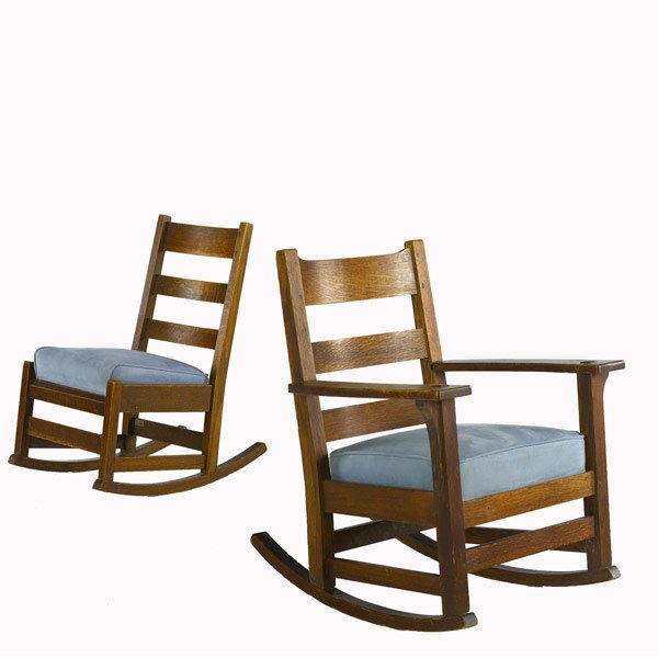 Furniture - L&JG Stickley - 827 - Arm Rocker, 3-Slat Horizontal Back