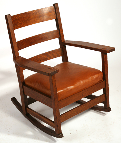 Furniture - L&JG Stickley - 803 - Ladderback Arm Rocker, spring cushion seat, leather