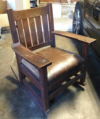 Furniture - L&JG Stickley - 823 - Arm Rocker, 5 Vertical Slats, Spring Cushion Seat