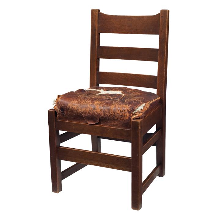 Furniture - L&JG Stickley - 824 - Ladderback Chair, 3-Slat, Spring Cushion leather Seat