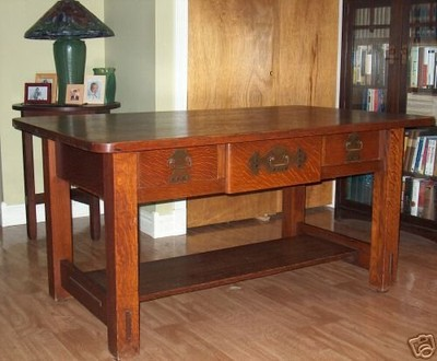 Furniture - Stickley Brothers - 2680 - Library Table with Three Drawers