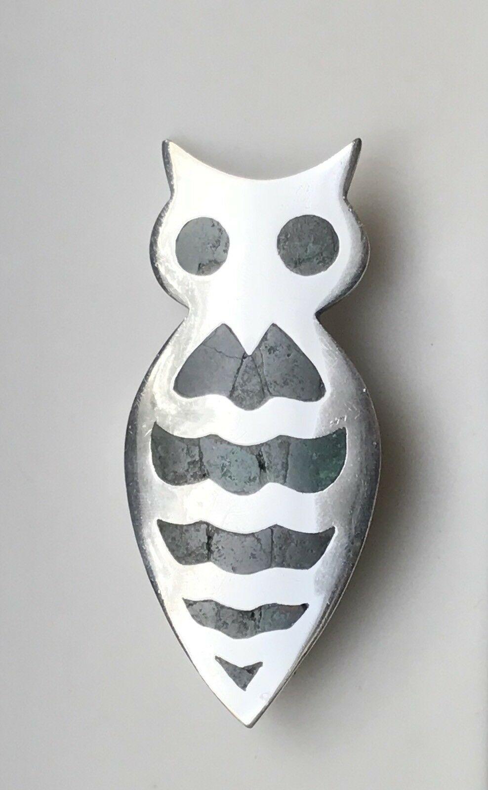 Mexican Silver - Los Castillo - Owl Brooch