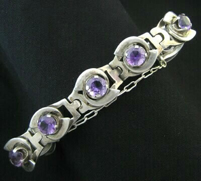 Mexican Silver - Los Ballesteros - Silver and Glass Bracelet