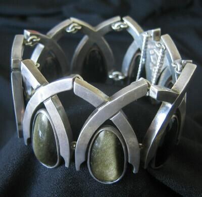 Mexican Silver - Antonio Pineda - Obsidian Arches Bracelet