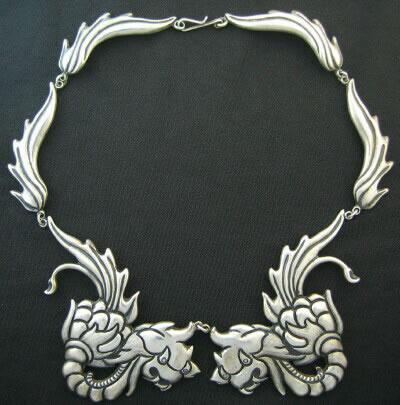 Mexican Silver - Los Castillo - Dragon Necklace