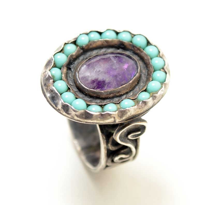 Mexican Silver - Matilde Poulat - Rings of Turquoise and Amethyst Ring