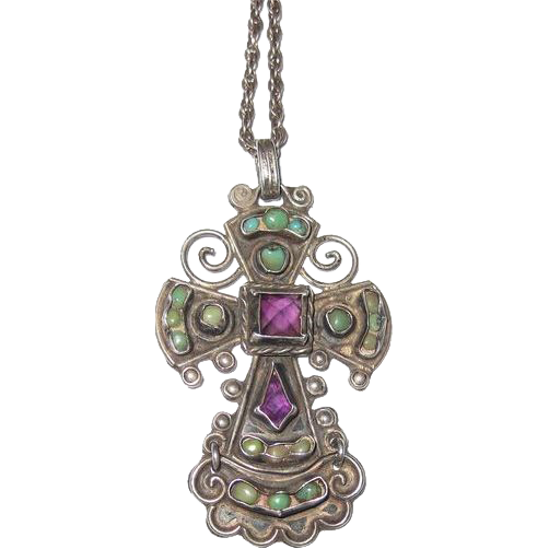 Mexican Silver - Matilde Poulat - Amethyst and Turquoise Cross Pendant