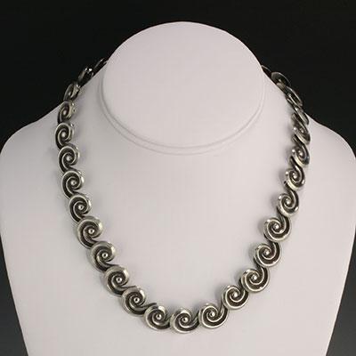 Mexican Silver - Los Castillo - Scrolls Necklace